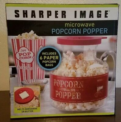 Sharper Image Popcorn Popper Glass Microwave Popper New Nib