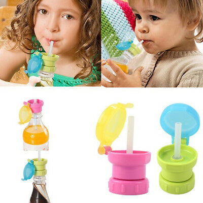 Children Kids Portable Drinks Spill Choke Proof Lid Straw Bottled Cover Cap