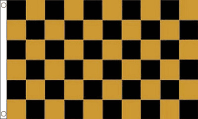 West Auckland Town Gold and Black Checkered 5ft x 3ft (150cm x 90cm) Flag