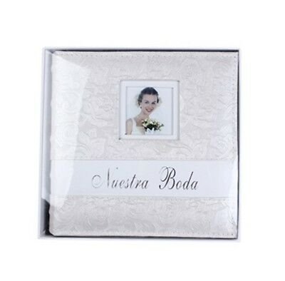 Album de Fotos Nuestra Boda. Color blanco perla, con relieve de flores.
