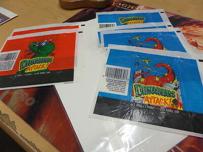 Lot of 6 1988 Topps Dinosaurs Attack Trading Card Used Wax Wrappers