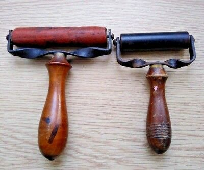 2 X Vintage Printing Ink Rollers Metal Frame Wooden Handle