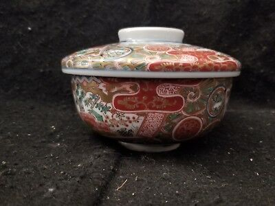 ANTIQUE JAPANESE ARITA IMARI Chinese faux Ming mark COVERED RICE BOWL