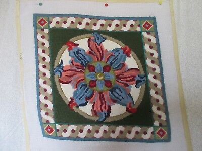 "Completed Needlepoint Canvas Katherine Parfet Design Never Used < 14"" square"