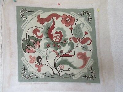 Candamar Kit Completed Needlepoint Canvas Jacobean Floral Pastels NO INSERT
