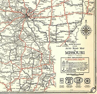 1932 Antique MISSOURI State Map Auto Road Map Missouri Highways Map RARE 6302