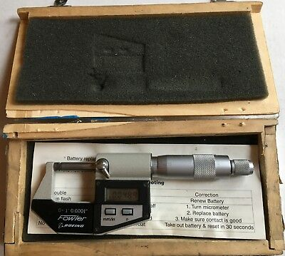 Fowler/Boeing 1 In Electronic Digital Micrometer .0001 Grads. W/ Carbide Faces