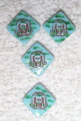 Vintage Rare Egyptian Revival Turquoise Glass Pharoh Head Jewels 8 Pcs Blue