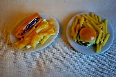 Dolls house food - HOTDOG & CHIPS + CHEESEBURGER &  - 12th scale - great detail