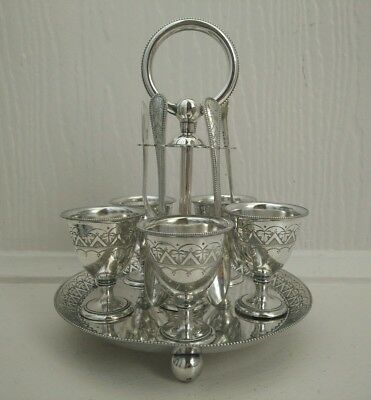 Vintage  silver plated 5 person egg cup set with spoons & stand
