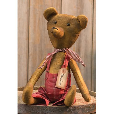 """New Primitive Grungy Antique Style Red Overalls HAMILTON TEDDY BEAR Doll 17"""""""