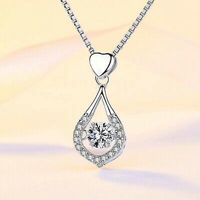 925 Sterling Silver Heart Water Drop Pendant Chain Necklace Womens Jewellery New