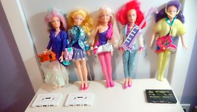 Jem dolls great lot of 5 used dolls and 3 tapes and accessories