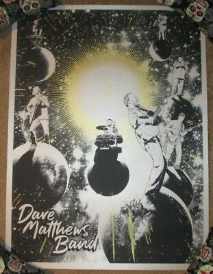 DAVE MATTHEWS BAND concert poster in space Satin Silver Keyline Variant Budich