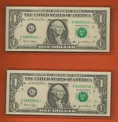 (2) Consecutive 2003 $1 Chicago Star Notes Crisp Uncirculated G09255241-2*