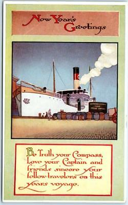 """Arts & Crafts NEW YEAR'S GREETING  Ship """"Be Truth your Compass"""" Gibson Postcard"""
