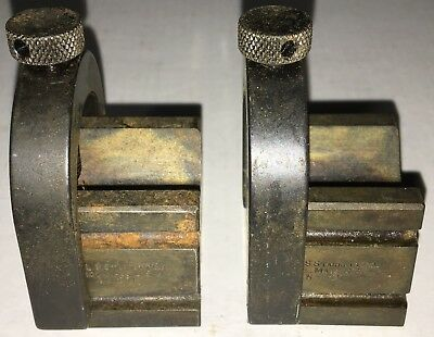 Starrett No. 271 Set Of Matched V-Blocks W/ Clamps As Pictured Case Hardened