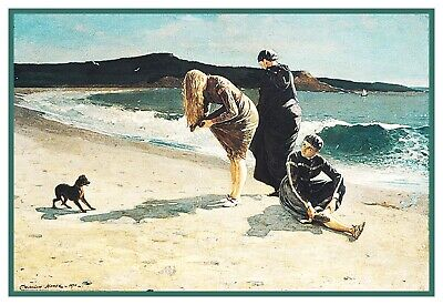 Winslow Homer's High Tide Manchester MA Counted Cross Stitch Chart Pattern