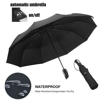 Portable Automatic Folding Umbrella Windproof Compact 190T 10 Fiberglass Frames