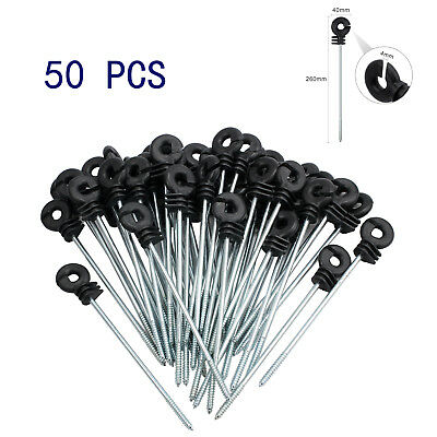 50X Long Distance Ring Insulators Screw In Offset Electric Fence Poly Wire Black