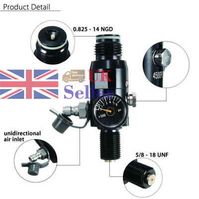 Paintball 5/8'' 18UNF Thread Output 2200psi Valve Regulator Air Tank Outdoor UK