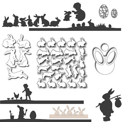 Easter Bunny World Metal Cutting Dies Scrapbooking Handcrafts Paper Cards Decor