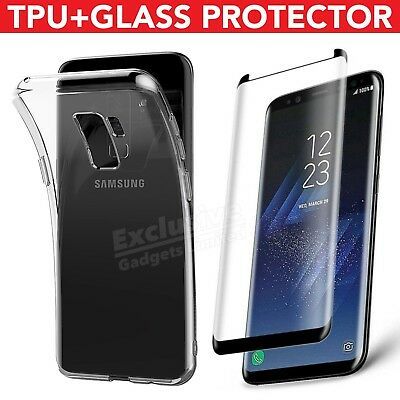 Samsung Galaxy S7 S8+ S9 Note 9 TPU Case Cover & Tempered Glass Screen Protector