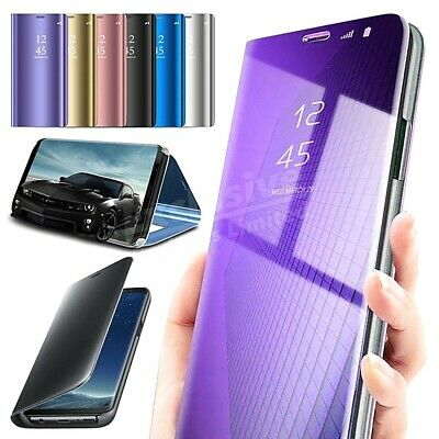 Samsung Galaxy S8 S9 S10+ S7 Case Smart 360 View Mirror Leather Flip Stand Cover