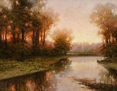 Art Canvas Giclee Print Brook Landscape Oil painting Printed on Canvas HD108