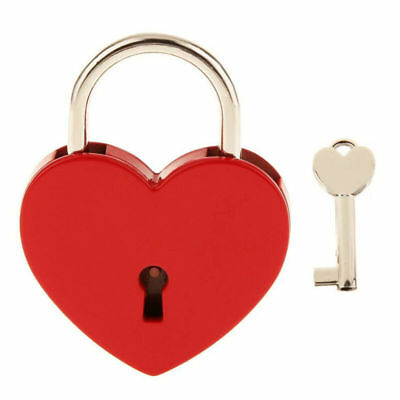 Heart Shape Padlock with Key Small Metal Padlock Mini Lock with Key for Box