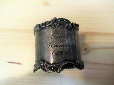 Antique Sterling Silver Napkin Ring Dated 1912 Pre Wwi  Marked From Mamma !!!