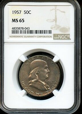 1957 50C Ngc Ms 65 (Mint State 65) Silver Franklin Half Dollar Coin Sh982
