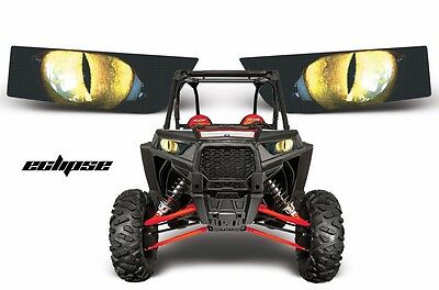 Headlight Eye Graphics Kit Decal Sticker Cover For Polaris RZR 1000 ECLIPSE YLLW