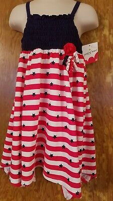 89615419c8a GIRLS OSHKOSH SZ 4T Red White Blue Star Ruffle Layer Dress July 4th ...