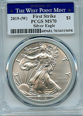 2019 (W) ASE PCGS MS70 Coin West Point Label First Strike Silver Eagle Dollar