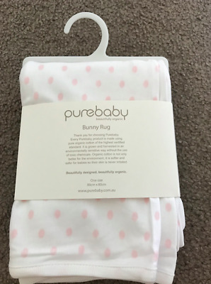 Purebaby bunny rug white with pink spots, ethically sourced brand new with tags