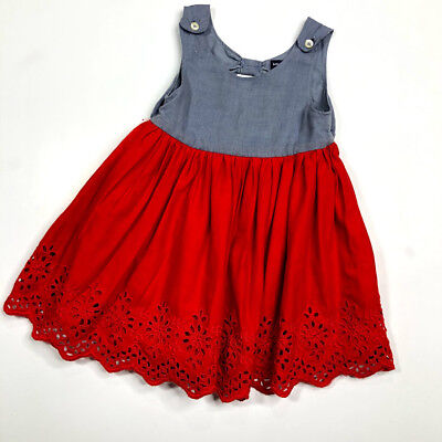 aa9202e50f8 BABY GAP 18-24 Months Chambray Red Eyelet Dress -  13.99