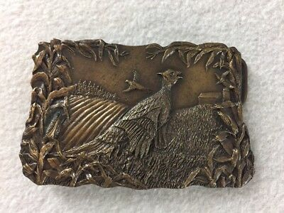 Vintage Bergamont Brass Works Belt Buckle Pheasant In Corn Field 1977 V-144