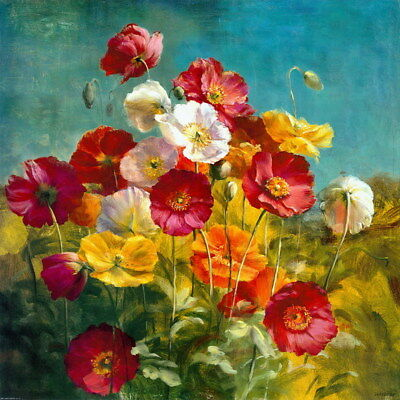 Art Giclee Print Flower Red Poppies Oil painting HD Printed on canvas P1063