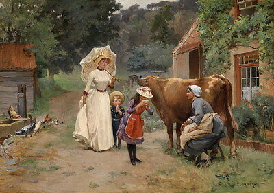 Hd Art Giclee Print Harmony Scene Oil painting Picture Printed on canvas P756