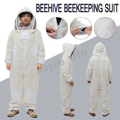 3 Layer Ventilated Beekeepers Bee Full Suit Beekeeping Protective w/ Veil Hood