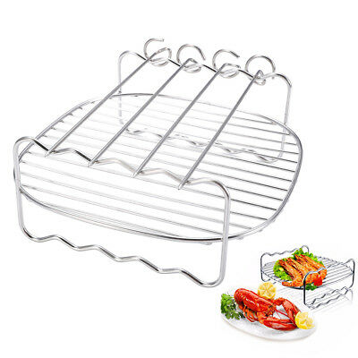Stainless Steel Replacement Rack Double Layer Baking Tray Tool For Air Fryer