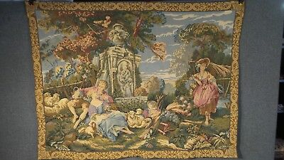 VALENTINES Romantic Vintage Wall hanging FRENCH TAPESTRY renaissance style 4ft 5