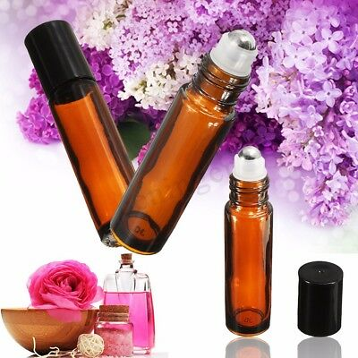 24pcs 10ml Amber Glass Bottle W/ Roll On For Essential Oils Aromatherapy Au 2019
