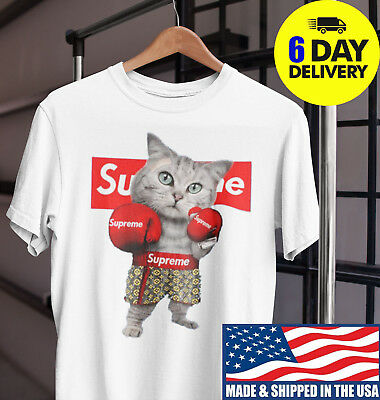 7e8dd3e92 Boxing Cat Funny Supremee Tshirt Mashup White for Men,Women Full Size S to  3XL