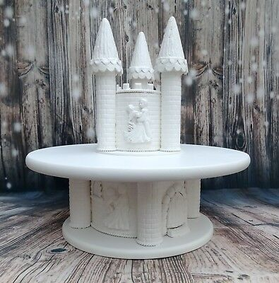 14 inch WHITE PAINTED HAND MADE WOODEN CASTLE WEDDING CAKE STAND PLUS TOPPER