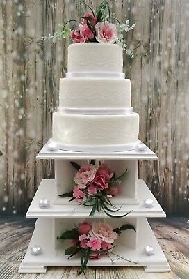 LARGE 3 in 1 SQUARE WHITE / IVORY WEDDING CAKE STAND SET / CUPCAKE STAND