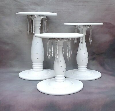 White Painted Hand Made Wooden Pedestal Cascade Wedding Cake Stand  Set