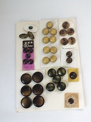 JOB LOT MIXED VINTAGE Retro BUTTONS 1950s /60 s Browns Neutrals