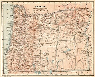 1914 Vintage OREGON MAP Antique Map of Oregon State Map Gallery Wall Art 6314